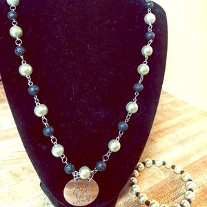 Jewelry - Pearls and Black diffuser Beaded Stones Set